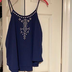 Navy top with adjustable straps